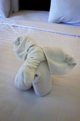 Ein Elefant aus Handtücher geformt
