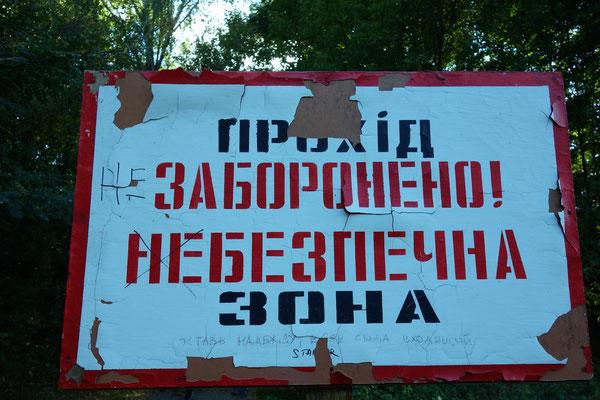 Schild vor dem Duga Radar