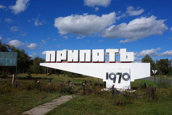 Das Schild der Arbeiterstadt Pripyat