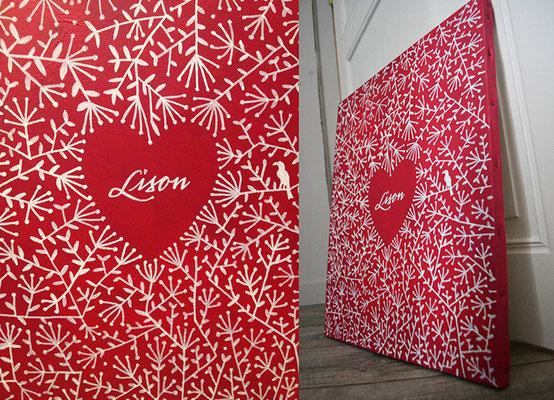 Coeur rouge - Acrylique - Format 40x70
