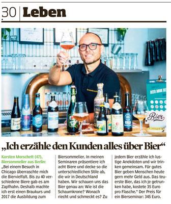 Biertasting und Bierseminare - live und digital - biersommelier.berlin - Biersommelier Karsten Morschett - Bild am Sonntag