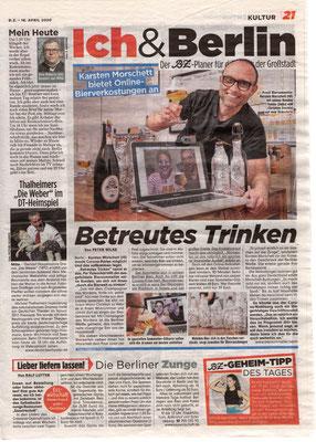 Biertasting und Bierseminare - live und digital - biersommelier.berlin - Biersommelier Karsten Morschett - B.Z.