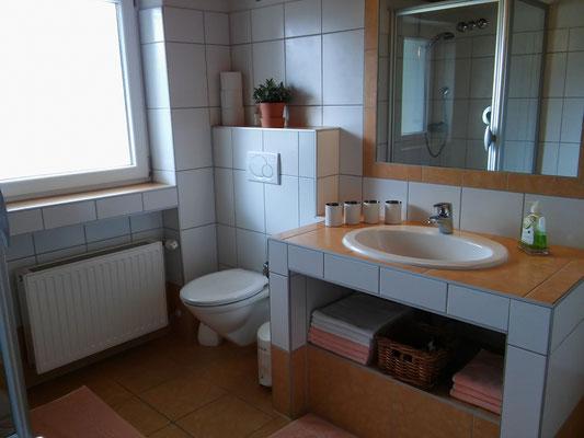 Badezimmer mit Dusche, Badewanne, WC, Haarfön, Bademäntel