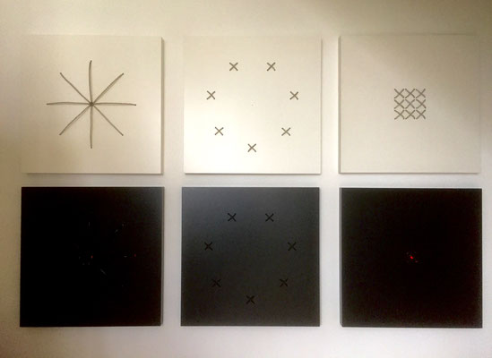 Serie big bang spirit, 80 x 80 x 6 cm, 2019, 6 Themen in schwarz oder weiß
