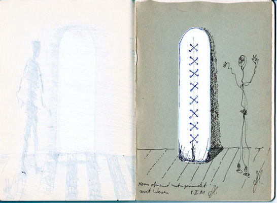 Skizze zu Tafel mit Naht, 60cm x 200cm x 1,8cm