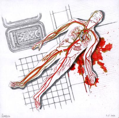 Directo al corazón. Lápiz, tinta china y yodopovidona sobre papel. 21.4 cm X 21.4 cm. 2005.