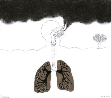 Volcan. Lápiz, polvo y carboncillo sobre papel. 19cm X 21.3 cm. 2005.