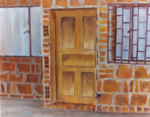 Puerta y fachada. Óleo sobre lienzo.  70 cm x 90 cm. 2001