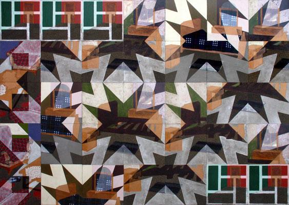 """""""Huellas del tiempo"""" Vinilos, polvo, laca, tela, tintes y fotografía sobre MDF. 2008"""
