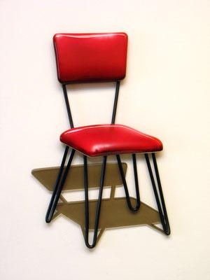 """""""Por favor siga, tome asiento"""" Ensamblaje con metal, madera, metal, lamina acrilica y pintura laca. 45cm X 32cm X 3.5cm. 2015"""