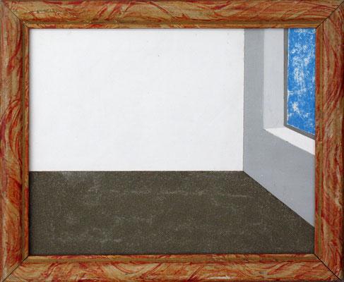 """""""Aún todavía. Un mobiliario paradójico"""". Marco de madera, polvo, y vinilo sobre madera. 2004"""