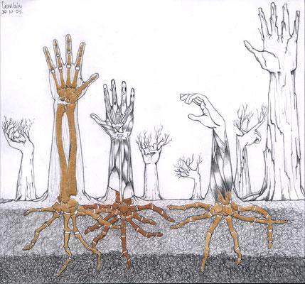Árboles de arena.  Lápiz, arena y polvo de ladrillo sobre papel. 21 cm x 20cm. 2005.