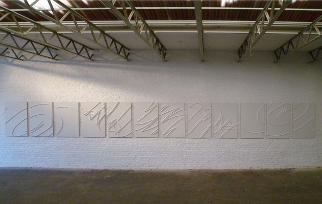 """12 Pieces of Signature [Trinitrotoluene]"" 2011/12, 430,31 x 39,37 x 1,3 inches. daylight."