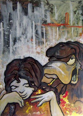 """""""without title [Bodé Characters from a female point of view]"""", acrylic on canvas [2008]"""