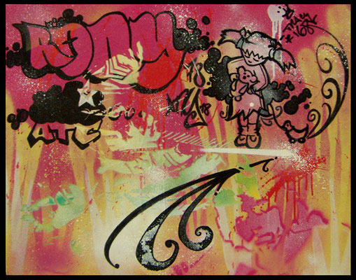 Kollaboration: RONY, TRACY168, Aerosollack auf Leinwand, NYC [2008], ca. 42 x 59,4 cm