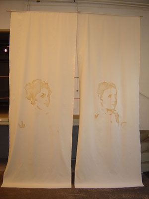"""25.08.78 [me and Amalie]"" Scroll painting, burned into nettle, 2007"