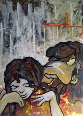 """o.T."" [Bodé Characters aus weiblicher Sicht]"", Acryl auf Leinwand [2008], ca. 59,4 x 42 cm"