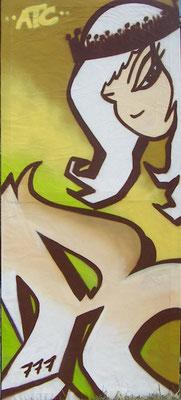 """""""R"""", Aerosollack auf Leinwand [2007], 200 x 100 cm"""