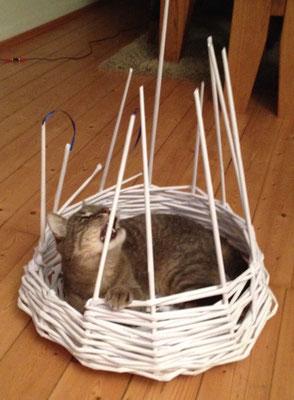 Papierbasteln und  Flechttechnik. Liegefläche für Katzen und andere Tiere