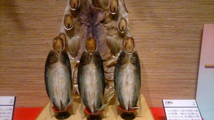 いわしで作られた三尊仏(見世物)