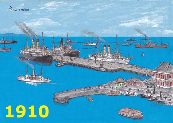 1910年 上屋の無い鉄さん橋の頃