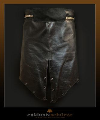 Lederschürze schwarz mit Schlitz und Nieten