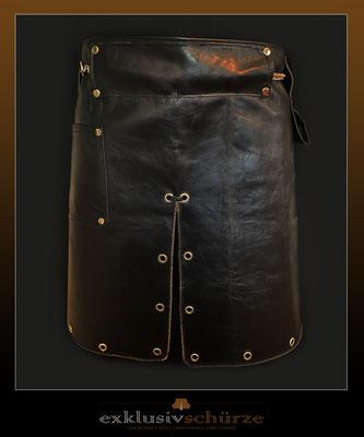 Lederschürze schwarz mit Schlitz und Lochnieten, mit Tasche oder auch ohne