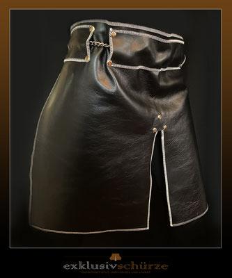 Lederschürze schwarz mit Schlitz und breiter Schlaufe