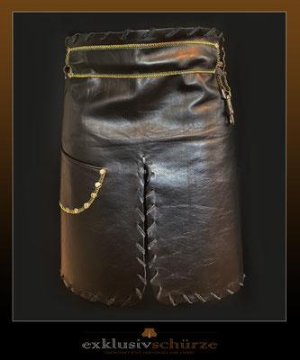 Lederschürze schwarz mit Schlitz und Tasche, freie Farbenwahl bei den Nähten