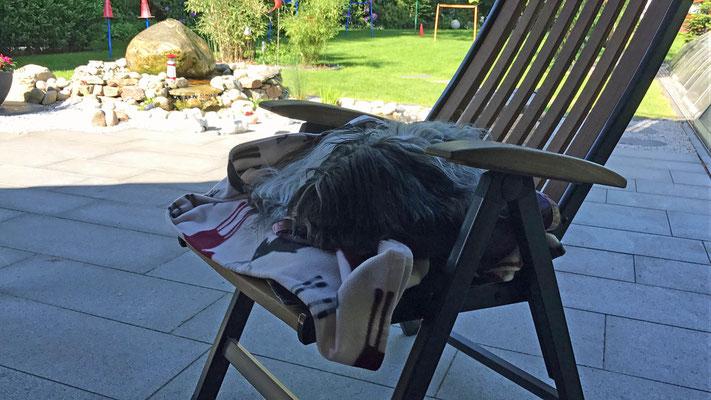 Mein Sessel, morgens und ...