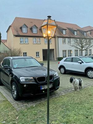 Unser Auto parkt an der Hundewiese.