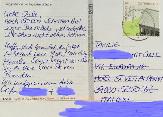 Die netten Hoteliers in Italien haben sie mir nach Hause nachgesandt.