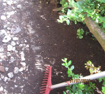 Ich habe so ein schönes Loch gegraben und den Boden auf den Kieseln verteilt  Das kann Herrchen doch nicht einfach wieder zu machen!
