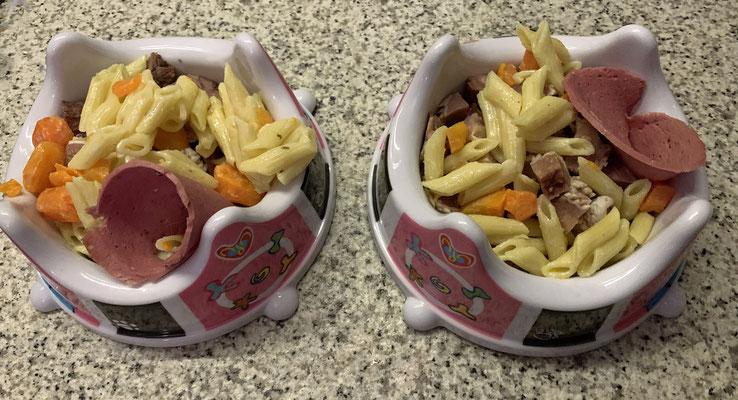 Unser Abendessen: gekochtes Maulfleisch vom Rind an Mini-Penne mit Wurzeln und Leinöl und einer Scheibe Wild-Wurst; gar nicht so schlecht!