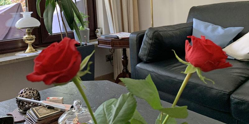 Wir haben Frauchen wieder jeder eine Rose mitgebracht.