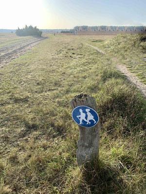 ... auf dem Fussweg. Der breite Weg ist für Kutschen und Reiter.