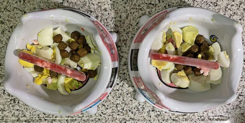 ... Hüttenkäse-Beeren-Eis an Ei und Trockenfutter