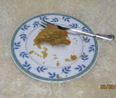Dieser Kuchen ist gestohlen worden. Herrchen hatte mich in Verdacht, ich weiß gar nicht, wieso.
