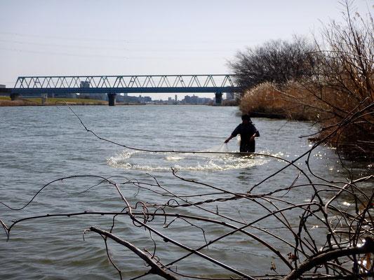 江戸川本流下流方向(北総線の鉄橋)