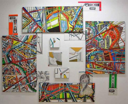 HEAD_QUEST / mixed media, canvas / 225 x 265 cm