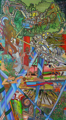 AUGUSTUS BACKYARD / mixed media, canvas / 180 x 100 cm