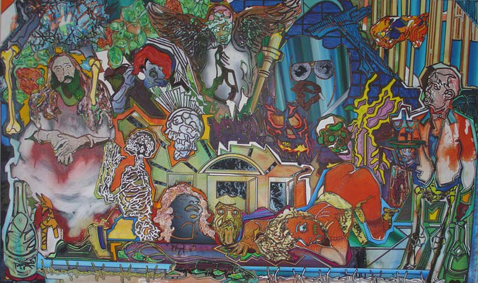 LAST SUPPER / mixed media, canvas / 120 x 200 cm