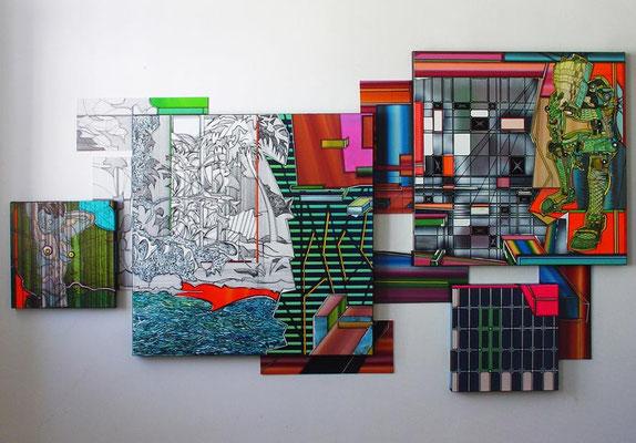 AUGUSTE RODIN BLOCKWERK AVATAR / mixed media, canvas / 127 x 232 cm