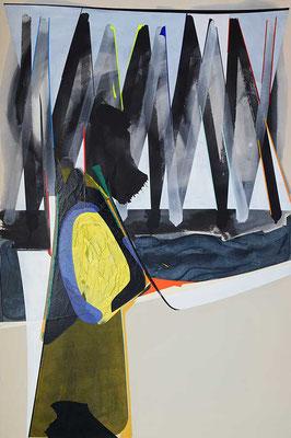 1-FUENF-20 / mixed media, paper, canvas / 150 x 100 cm