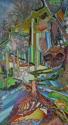 WILDBACH & CAPUT MORTUUM / mixed media, canvas / 180 x 100 cm