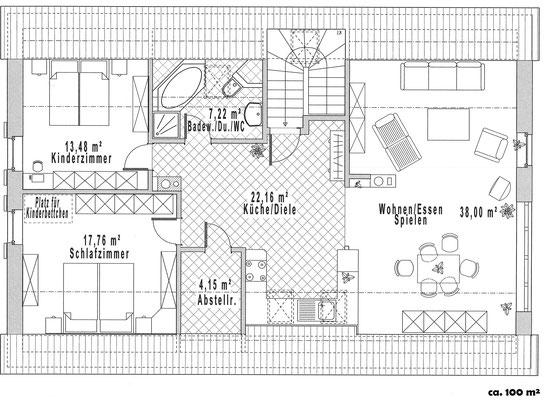 Grundriss des Apartments Heide