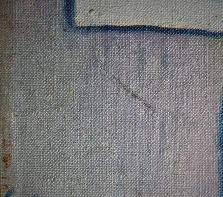 Zwei Kratzer in der Bildfläche. Die Farbschollen des kleinteiligen Craquelés wurden durch eine Festigung gesichert. Saarlandmuseum – Moderne Galerie, Stiftung Saarländischer Kulturbesitz