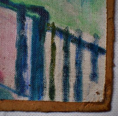 Die Leinwand ist an den Kanten beschnitten und auf Pappe montiert. Saarlandmuseum – Moderne Galerie, Stiftung Saarländischer Kulturbesitz