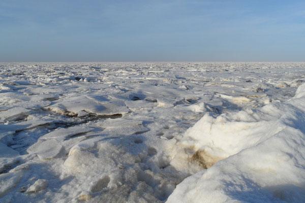 Die Nordsee bei tiefster Kälte mit Eisschollen