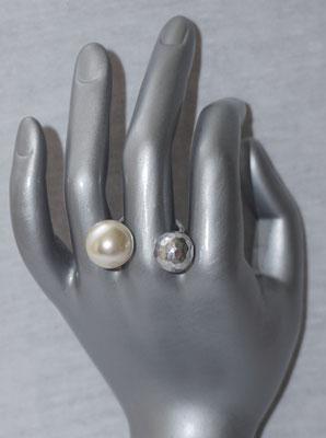 Silber gehämmert mit Perle